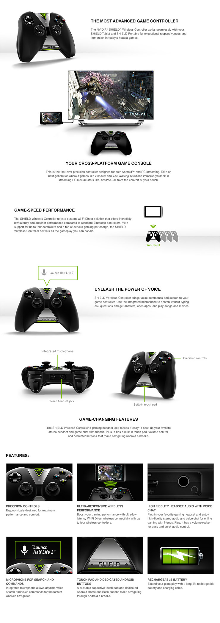 NVIDIA SHIELD Tablet Wireless Controller (945-12570-2500