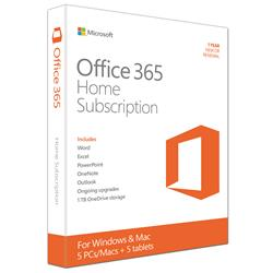 Microsoft Office 365 Home - 1 Year License - 32/64-bit - Up to 5 Devices