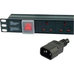 "Dynamode 2U 6 Way Horizontal 13A Switched 19"" PDU - IEC Plug"