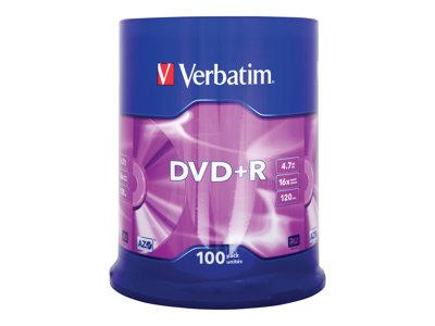 Verbatim DVD+R 16x Silver 4.7GB 100 Pack Spindle