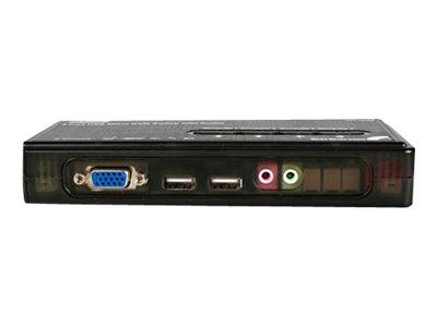 StarTech.com 4 Port Black USB KVM Switch Kit with Cables and Audio