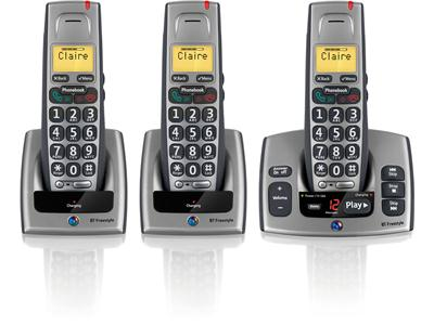 BT Freestyle 750 Trio Cordless Phone With Answer Machine (Grey)