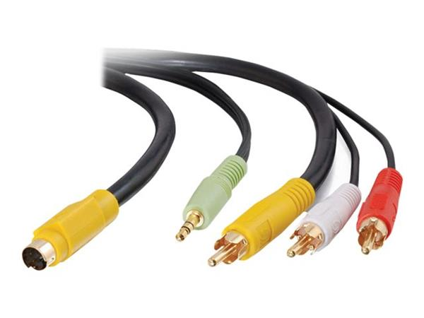 C2G 2m Value Series™ Bi-Directional S-Video + 3.5mm Audio to RCA Audio/Video Cable