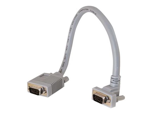 C2G 1m Premium Shielded HD15 SXGA M/F Monitor Extension Cable with 90° Up Angled Male Connector