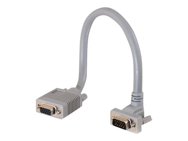 C2G .5m Premium Shielded HD15 SXGA M/F Monitor Extension Cable with 90° Down Angled Male Connector