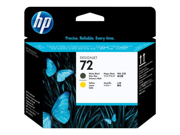 HP 72 Matte Black and Yellow