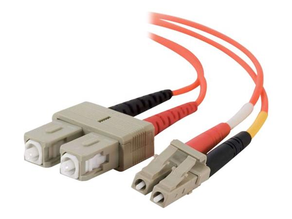 C2G 1m LC/SC LSZH Duplex 50/125 Multimode Fibre Patch Cable - Orange