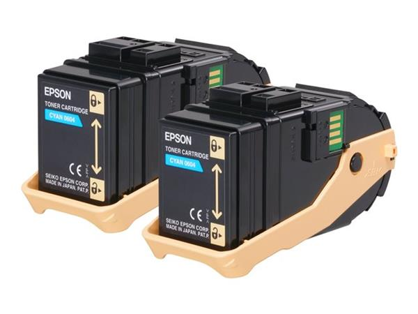 Epson AL-C9300N Double Pack Toner Cartridge Cyan 7.5k x2