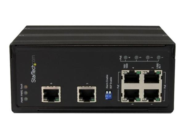 StarTech.com 6 Port Industrial Gigabit Ethernet Switch, 4 PoE+ Ports and Voltage Regulation