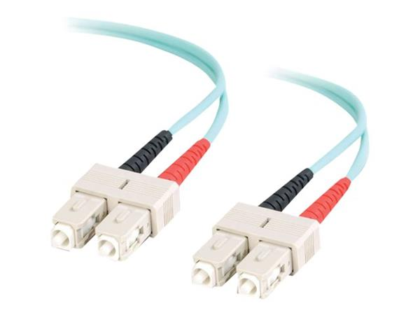 C2G 30m SC-SC 10Gb 50/125 OM3 Duplex Multimode PVC Fibre Optic Cable (LSZH) - Aqua
