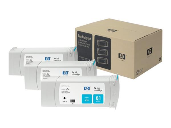 HP 81 3-pack 680-ml Cyan Dye Cartridges