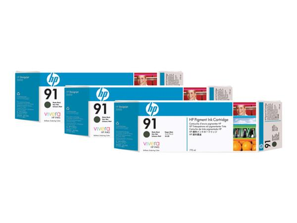 HP 91 3-pack 775-ml Matte Black Ink Cartridges