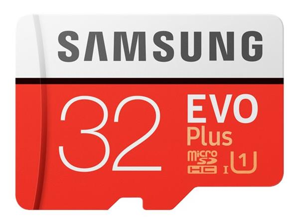 Samsung 32GB EVO Plus Class 10 microSDHC card with SD adapter
