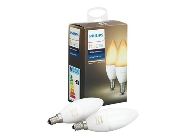 Hue Lampen E14 : Philips hue white ambiance e twin pack  bt shop