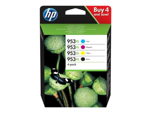 HP 953XL High Yield 4 Pack Ink Cartridge - 4 Colur multi-pack