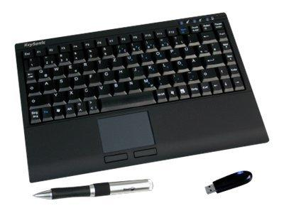 KeySonic Compact wireless keyboard with touch pad - black
