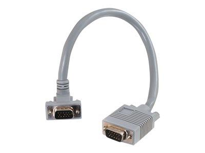 C2G 15m Premium Shielded HD15 SXGA M/M Monitor Cable with 90° Down Angled Male Connector