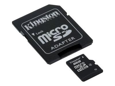Kingston 8BG mircoSDHC Class 4 Flash Memory Card - microSDHC to SD adapter included