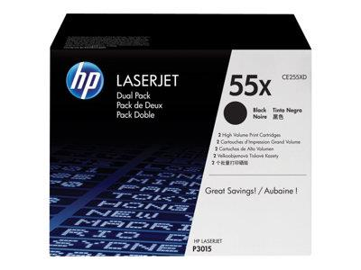 HP 55X 2-pack High Yield Black Original LaserJet Toner Cartridges