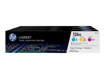 HP 126A 3-pack Cyan/Magenta/Yellow Original LaserJet Toner Cartridges