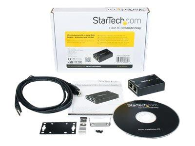StarTech.com 2 Port Industrial USB to Serial RJ45 Adapter - Wallmount and DIN Rail