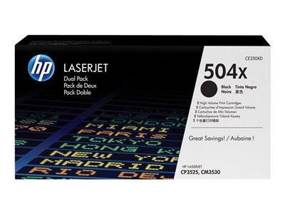 HP 504X 2-pack High Yield Black Original LaserJet Toner Cartridges