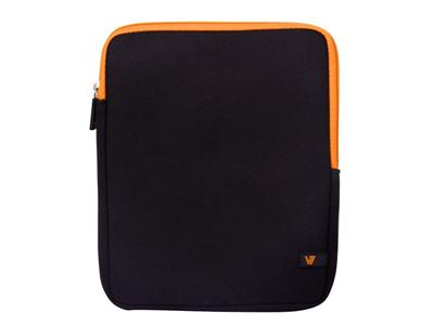V7 Protective Sleeve for all iPads and Tablets up to 10.1-In. Black with orange trim