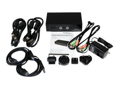 StarTech.com 2 Port SuperSpeed USB 3.0 Dual Link DVI KVM Switch with Audio and Cables