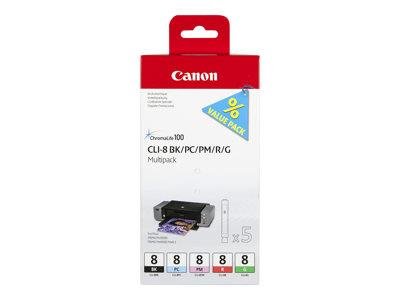 Canon CLI-8 Multipack Ink (Black/Red/Green/Pigmented Magenta/Pigmented Cyan)