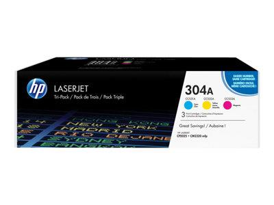 HP 304A 3-pack Cyan/Magenta/Yellow Original LaserJet Toner Cartridges