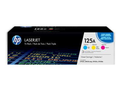 HP 125A 3-pack Cyan/Yellow/Magenta Original LaserJet Toner Cartridges