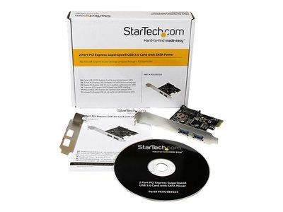 StarTech.com 2 Port PCI Express PCIe SuperSpeed USB 3.0 Controller Card w/ SATA Power