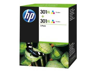 HP 301XL Tri-Colour (Cyan/Magenta/Yellow) Ink Cartridge Twin Pack