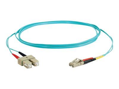 C2G 3m LC-SC 10Gb 50/125 OM3 Duplex Multimode PVC Fibre Optic Cable (LSZH) - Aqua