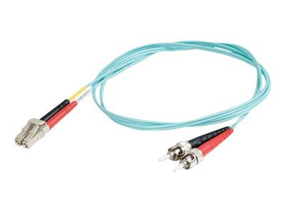 C2G 30m LC-ST 10Gb 50/125 OM3 Duplex Multimode PVC Fibre Optic Cable (LSZH) - Aqua