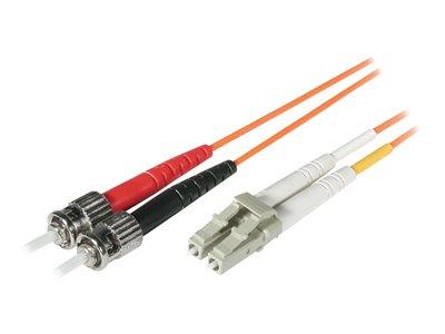 C2G 15m LC-ST 62.5/125 OM1 Duplex Multimode PVC Fibre Optic Cable (LSZH) - Orange
