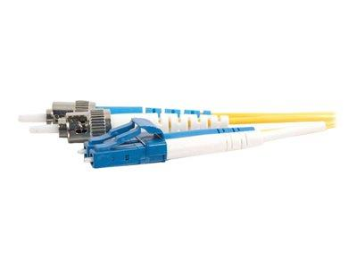 C2G 10m LC-ST 9/125 OS1 Duplex Singlemode PVC Fibre Optic Cable (LSZH) - Yellow