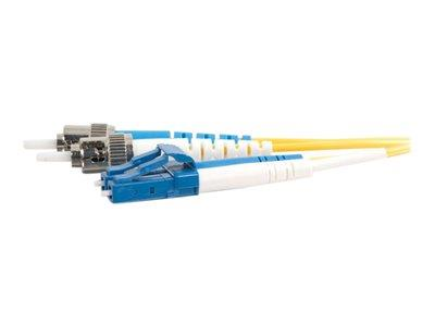 C2G 30m LC-ST 9/125 OS1 Duplex Singlemode PVC Fibre Optic Cable (LSZH) - Yellow