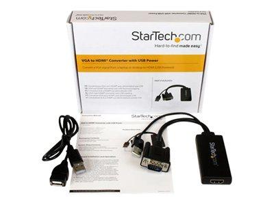 StarTech.com VGA to HDMI Adapter with USB Audio & Power- Portable VGA to HDMI Converter 1080p