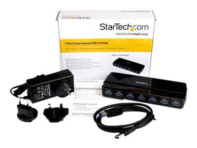 StarTech.com 7 Port SuperSpeed USB 3.0 Hub - Desktop USB Hub with Power Adapter – Black