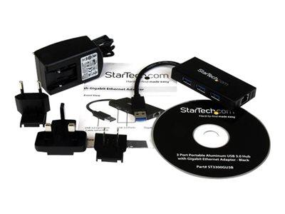 StarTech.com 3 Port Portable USB 3.0 Hub with Gigabit Ethernet Adapter NIC -  Aluminum w/ Cable