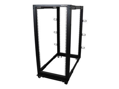 StarTech.com 25U Adjustable Depth Open Frame 4 Post Server Rack w/ Casters / Levelers & Cable Hooks