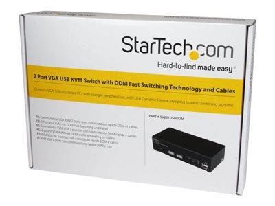 StarTech.com 2 Port USB VGA KVM Switch with DDM Fast Switching Technology and Cables