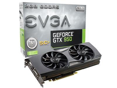 EVGA GeForce GTX 950 Superclocked+ ACX2.0 Gaming 2GB GDDR5 PCIe3.0 Graphics Card