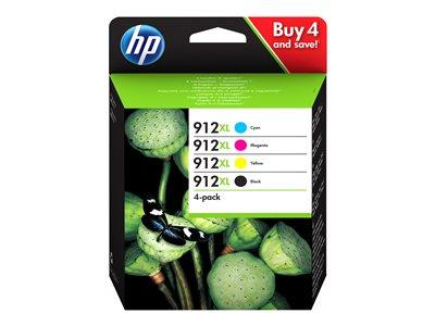 HP 912XL 4-pack High Yield Black/Cyan/Magenta/Yellow Original Ink Cartridge