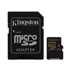Kingston 64GB Gold microSDXC UHS-I (U3) Card with adaptor