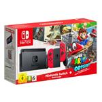 Nintendo Switch with Red Joy-Con Controllers and Super Mario Odyssey