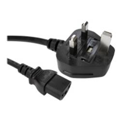 Cables Direct 0.5Meter 5AMP UK Plug (M)-IEC C13(F)Black Power Cable B/Q150