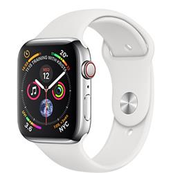 Apple Watch Series 4 GPS + Cellular, 44mm Stainless Steel Case with White Sport Band cheapest retail price