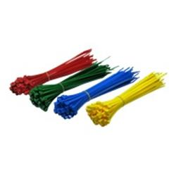 Cables Direct 200mm x 4.8mm Cable Ties Red, Blue, Green, Yellow - 200PK
